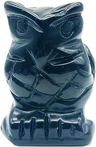 favoramulet Handcarved Stone Owl Bird Statue Pocket Healing Figurine Sculpture Animal Sculpture, 1.5 inch, Black Obsidian