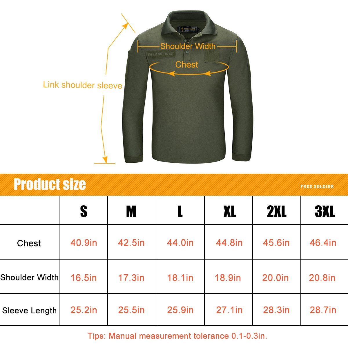 9f7aeaf32310 FREE SOLDIER Mens Long Sleeve Polo Shirt Breathable Coolmax Tactical Polo  XXL ) nanjing yebao