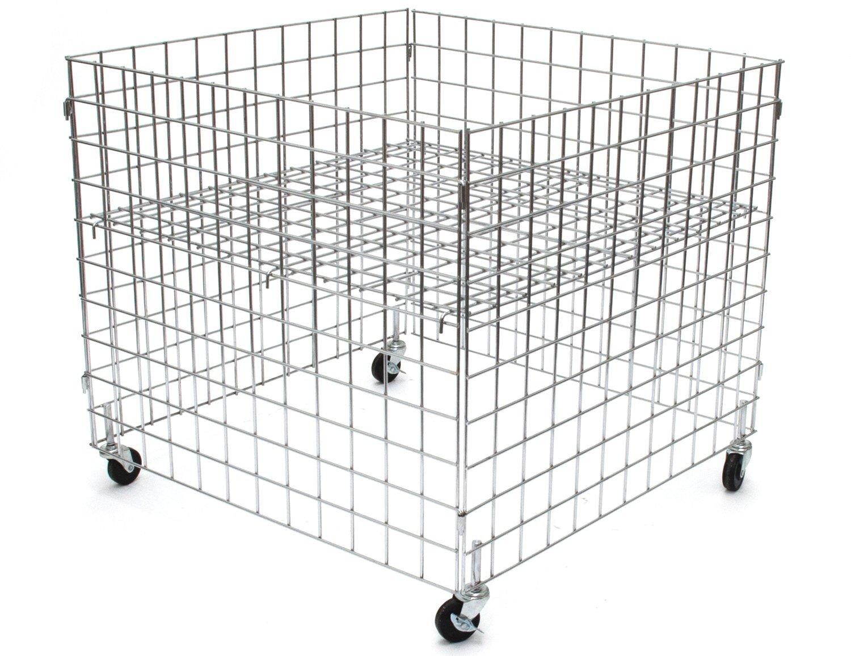 KC Store Fixtures 54101 Dump Bin, 36'' x 36'' x 30'' High Grid Panels with Casters, Chrome