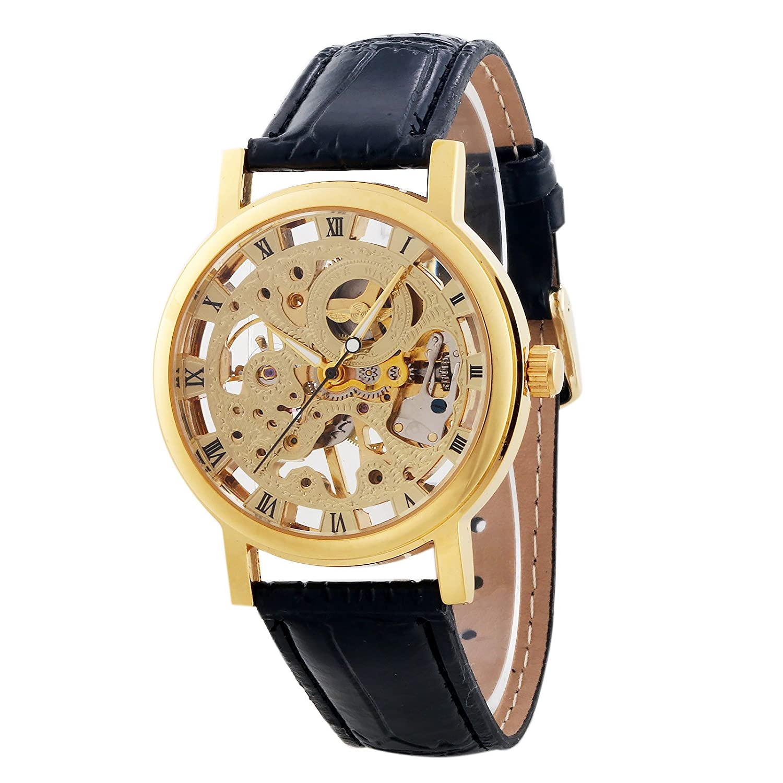 GuTe Golden Mechanical hand-wind WatchユニセックスPUスケルトン腕時計Roman Numbers B00SIDJR3C