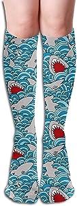 Bandnae 19.68 Inch Compression Socks Shark Sea Blue High Boots Stockings Long Hose for Yoga Walking for Women Man