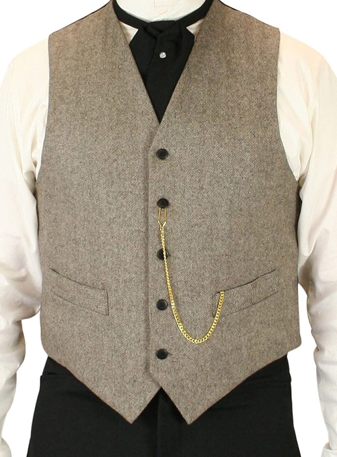Men's Steampunk Clothing, Costumes, Fashion  100% Wool Tweed Dress Vest Historical Emporium Mens Peabody $68.95 AT vintagedancer.com
