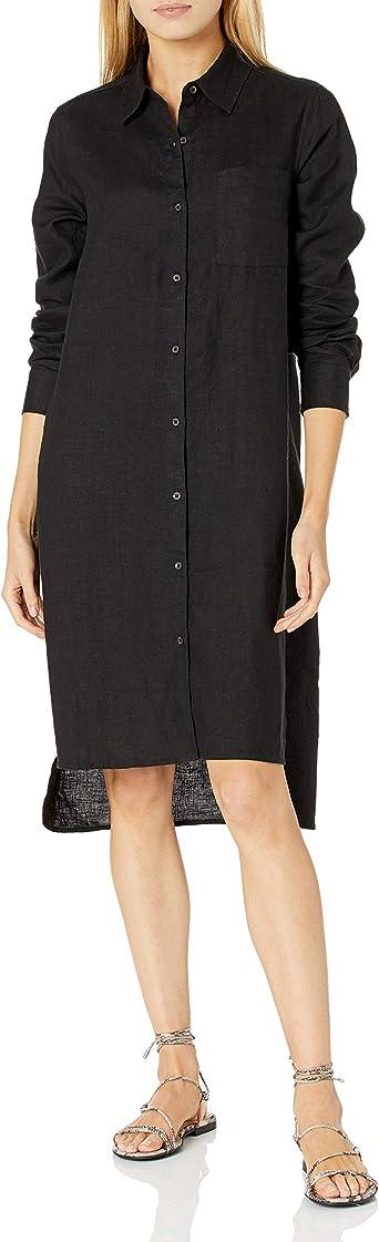 The Drop Women's Long Sleeve Loose-Fit Midi Shirt Dress