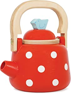 Le Toy Van - Honeybake Wooden Dotty Kettle - Breakfast Set Pretend Kitchen Play Toy Set | Girls or Boys Role Play Kitchen Accessories | Suitable for Boys and Girls