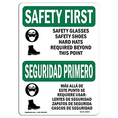 OSHA Safety First Sign - Safety Glasses Safety Bilingual | Choose from: Aluminum, Rigid