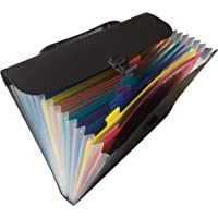 Expanding File Folder - Water Resistant Expandable Filing Organizer for Documents and Papers - Letter Size 13 Pockets (BIack)