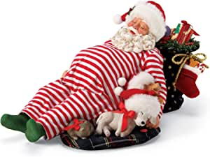 Department 56 Possible Dreams Santa and his Pets Cuddle Buddies Snoring Animated Figurine, 7 Inch, Multicolor