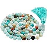 SUNYIK Semi Precious Stone Wrap Bracelet,Beaded Necklace Tibetan Buddhist Prayer Beads