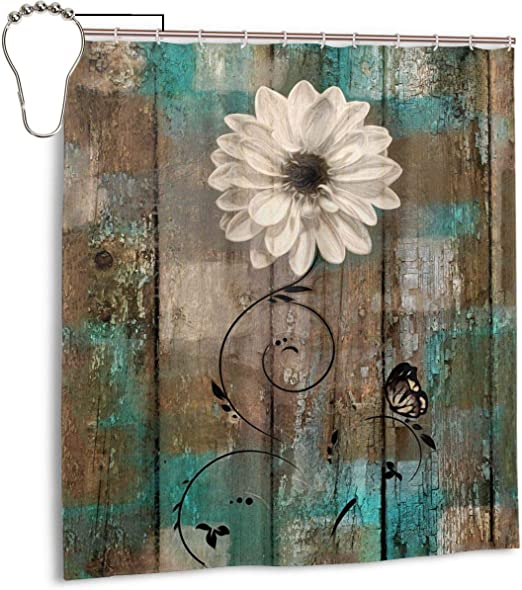 Amazon Com Amonee Yl Rustic Floral Butterfly White Flower Teal