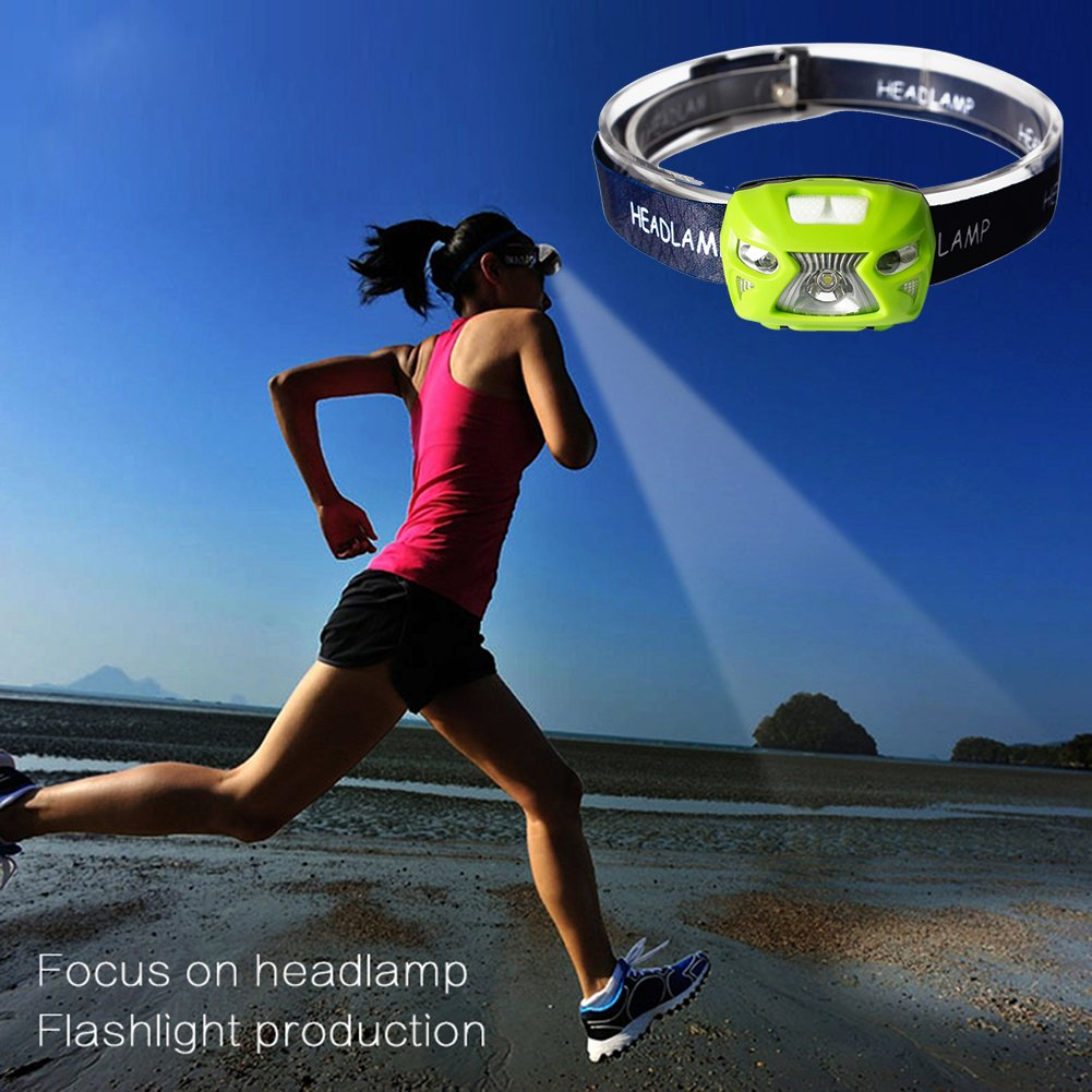 TOOGOO Mini faro a LED ricaricabile 300Lm Corpo Sensore di movimento del faro Camping Torcia a luce frontale Lampada torcia con USB Pesca sportiva Faro impermeabile nero