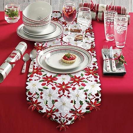 JX Camino de mesa bordado de navidad Poinsettia Holly Leaf ...