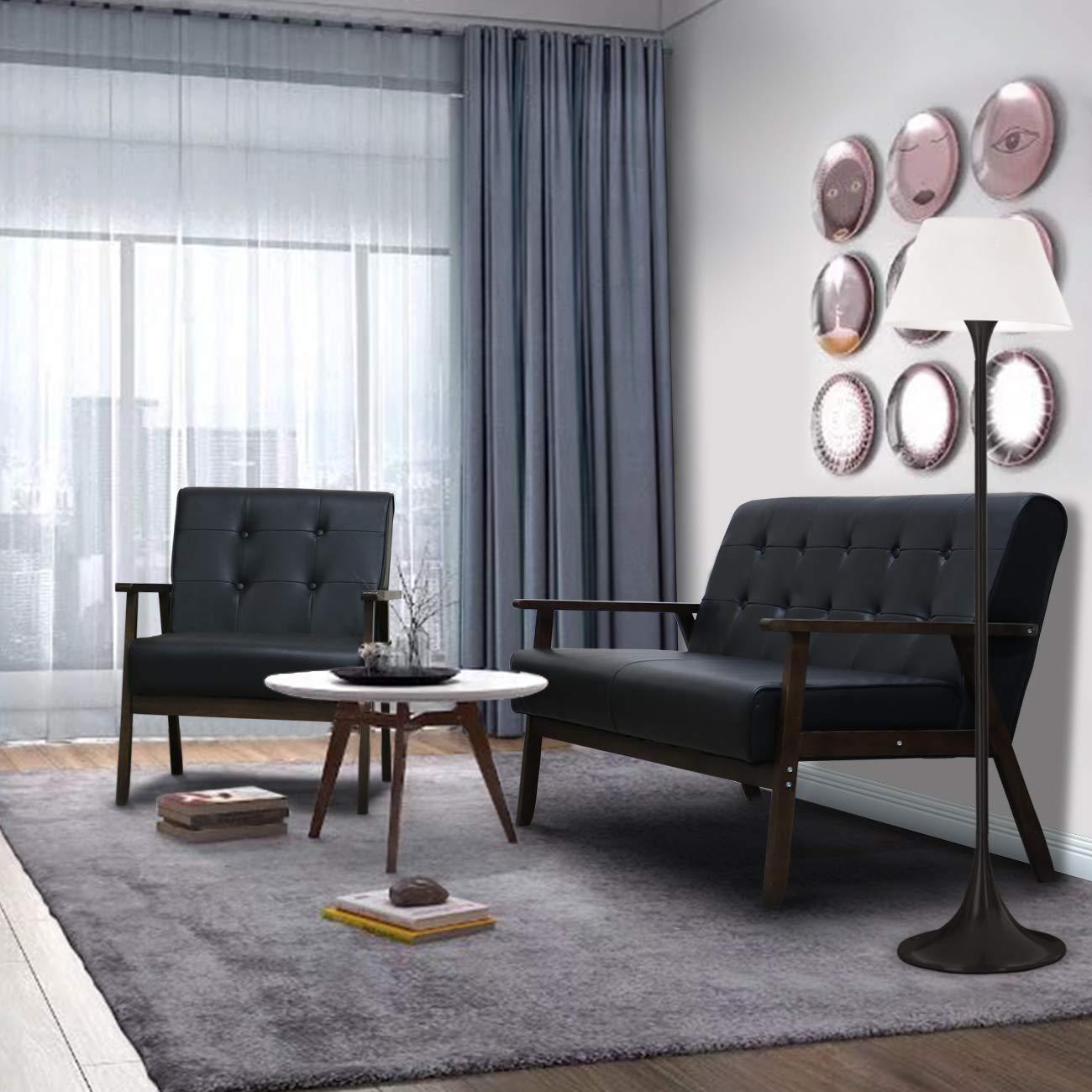 Amazing Aodailihb Modern Fabric Upholstered Wooden 2 Seat Sofa Set Sleek Minimalist Loveseat Sturdy And Durable Double Sofa Black Set Andrewgaddart Wooden Chair Designs For Living Room Andrewgaddartcom