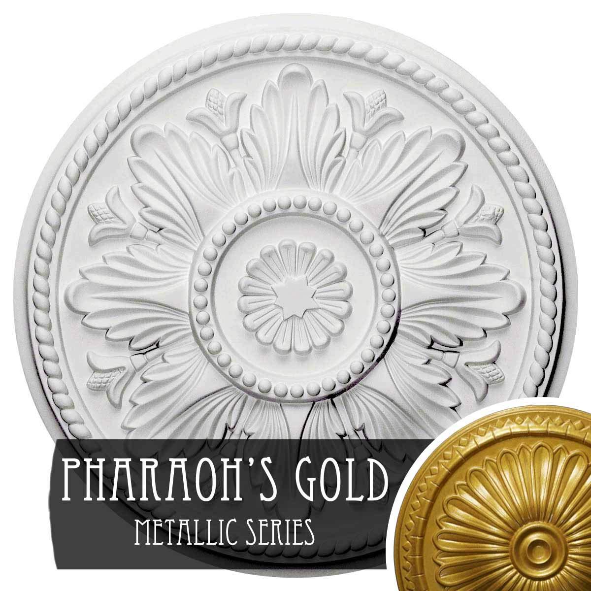 Ekena Millwork CM18EDPGS Edinburgh Ceiling Medallion Fits Canopies Up to 5 1/4'', Pharaohs Gold