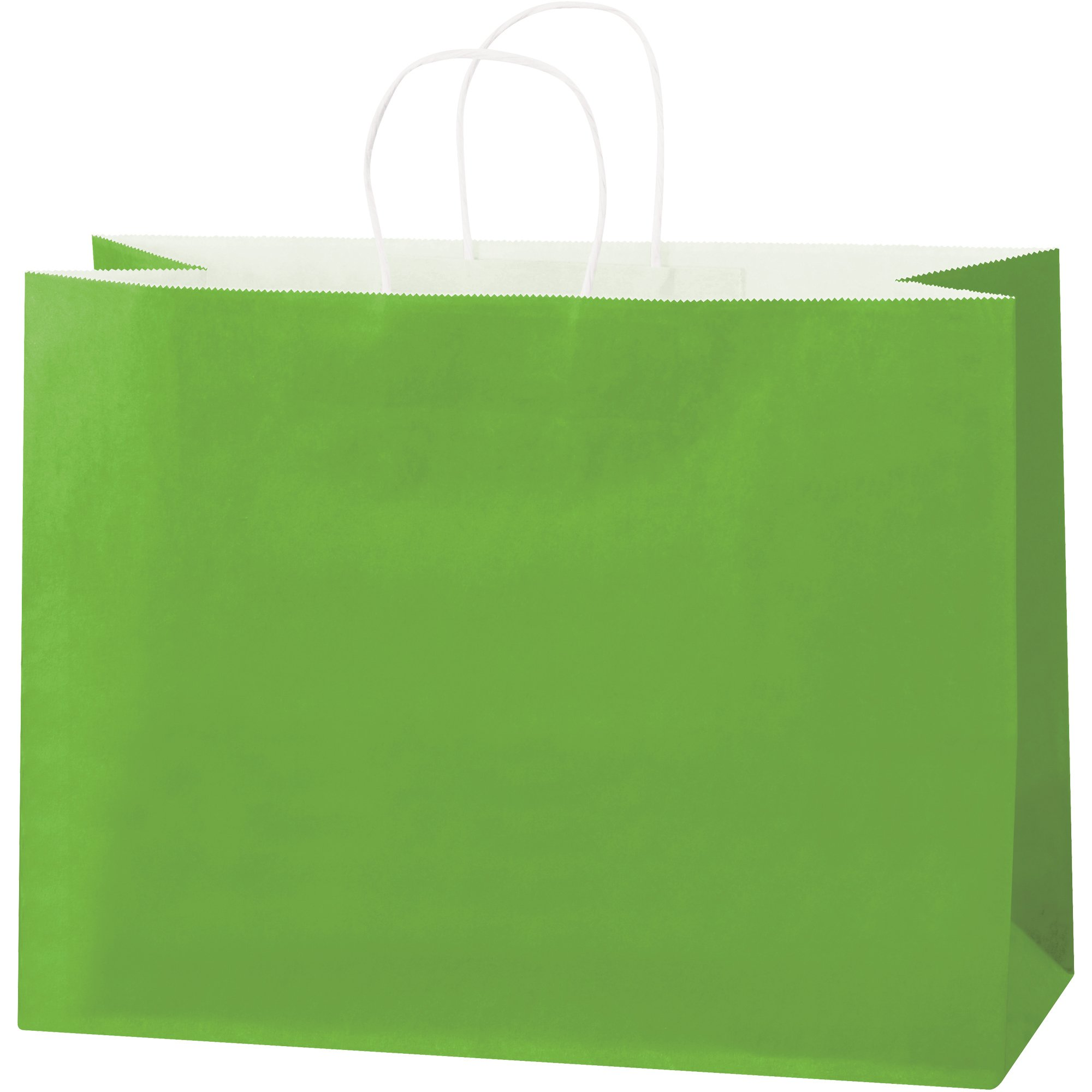 Tinted Paper Shopping Bags, 16'' x 6'' x 12'', Citrus Green, 250/Case