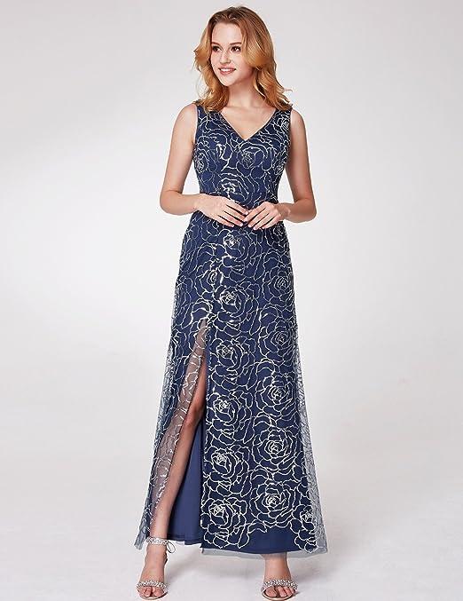 Ever Pretty Womens Side Slit Sparkling Sequin V Neck Long Evening Dress 07287: Amazon.co.uk: Clothing