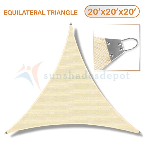 TANG Sunshades Depot 20 x20 x20 Reinforcement Large Sun Shade Sail Beige Equilateral Triangle Heavy Duty Metal Spring Outdoor Permeable UV Block Fabric Durable Steel Wire Strengthen 160 GSM