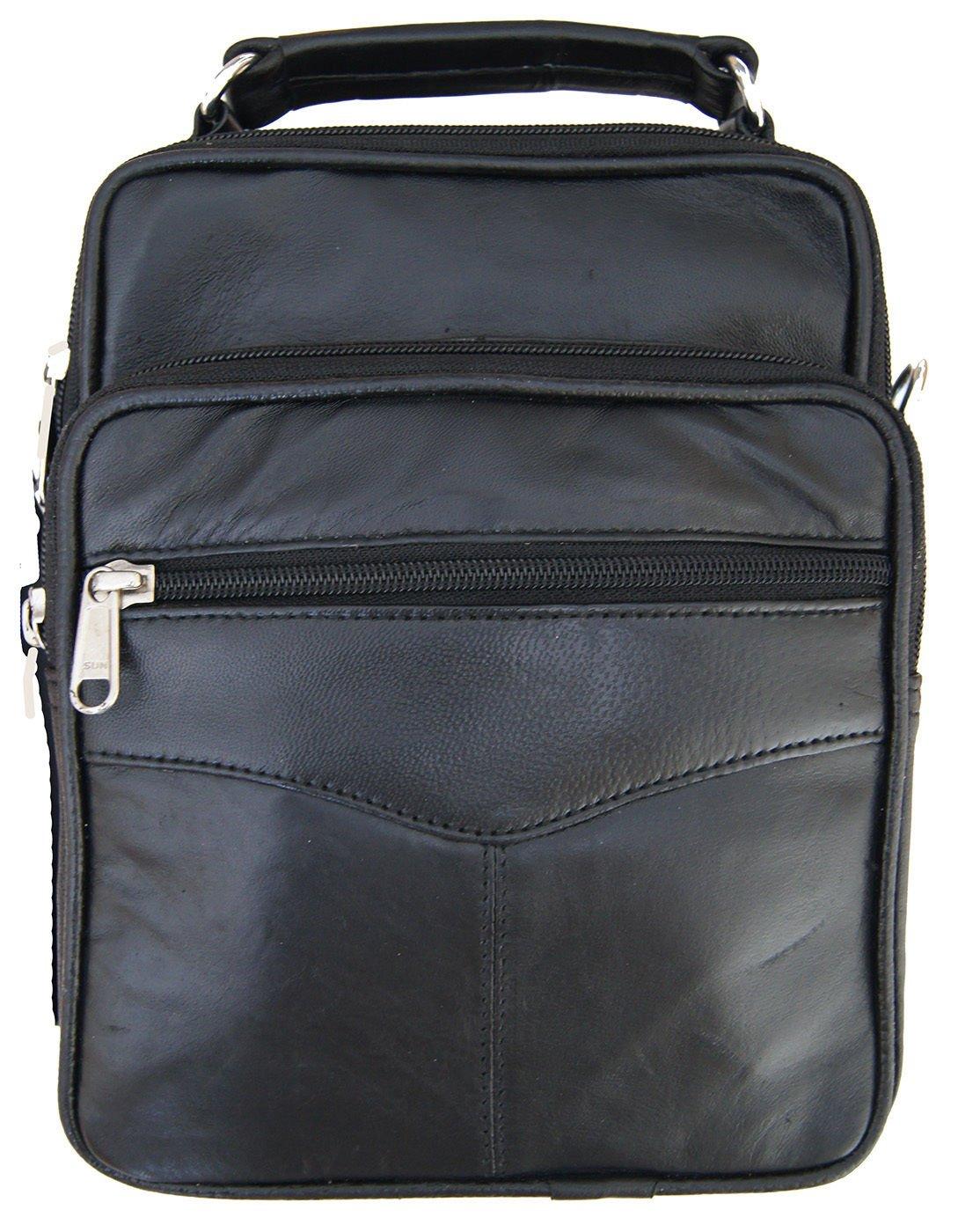 Mens Leather Crossbody Messenger Shoulder Bag Satchel Small Handbag Tablet Kit