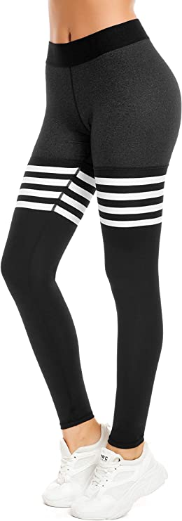 QUEENIEKE Women Yoga Leggings Knee-high Sock Workout Pants Running Tights Size M Color 2019-Black/Charcoal