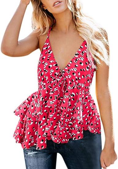 POLP Camisetas sin Mangas Mujer Chaleco Chica Blusa Sexy Escote en V Mujer Camisa Sexy sin Mangas de Ruffle Amarillo Rojo Azul S/M/L/XL: Amazon.es: Ropa y accesorios