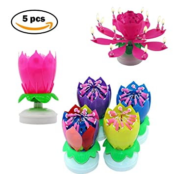 Aumkay Music Happy Birthday CandlesDouble Layer 14 Candles 5PCS Set Romantic Musical Lotus Rotating Flower Lights Party Gift