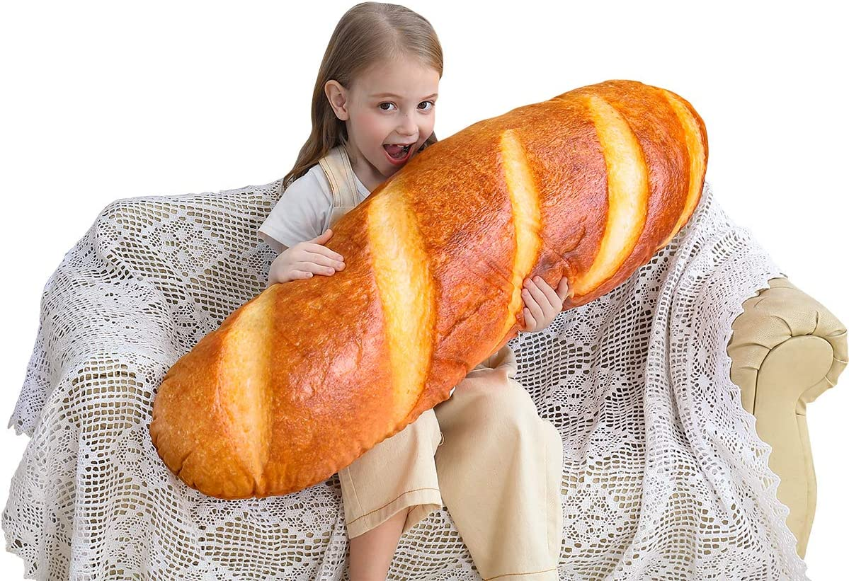 24 in 3D Simulation Bread Shape Pillow Soft Lumbar Baguette Back Cushion Funny Food Plush Stuffed Toy for Home Decor