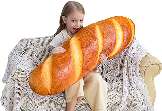 3D Simulation Bread Shape Pillow Soft Lumbar Back Cushion Plush Stuffed Toy US