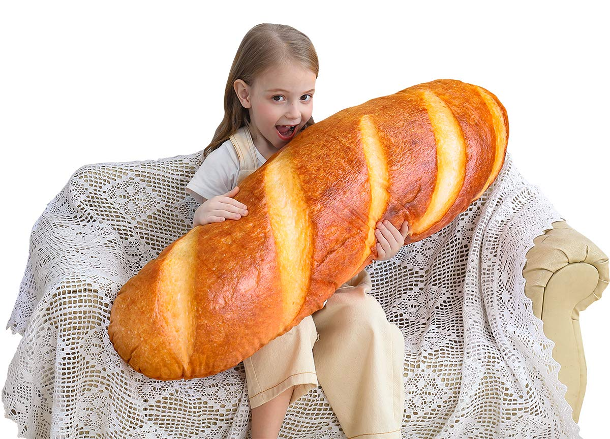 3D Simulation Bread Shape Pillow Soft Lumbar Back Cushion Funny Food Plush Stuffed Toy for Home Decor (40 in)