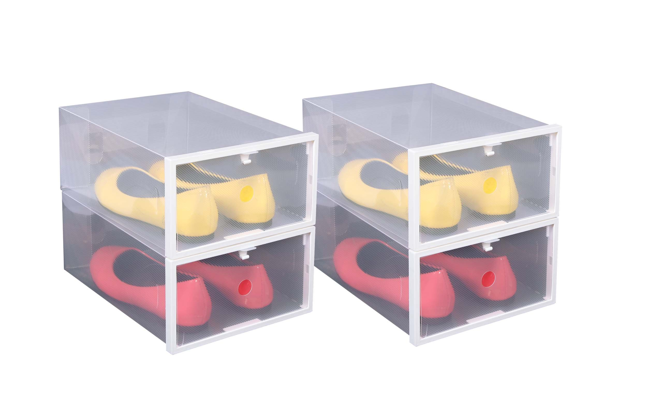 iTIDY Shoe Box-Women Shoe Storage Box,Plastic Foldable Stackable Shoe Container,Clear Closet Shelf Shoe Organizer,Pack of 4,Clear with White Frame