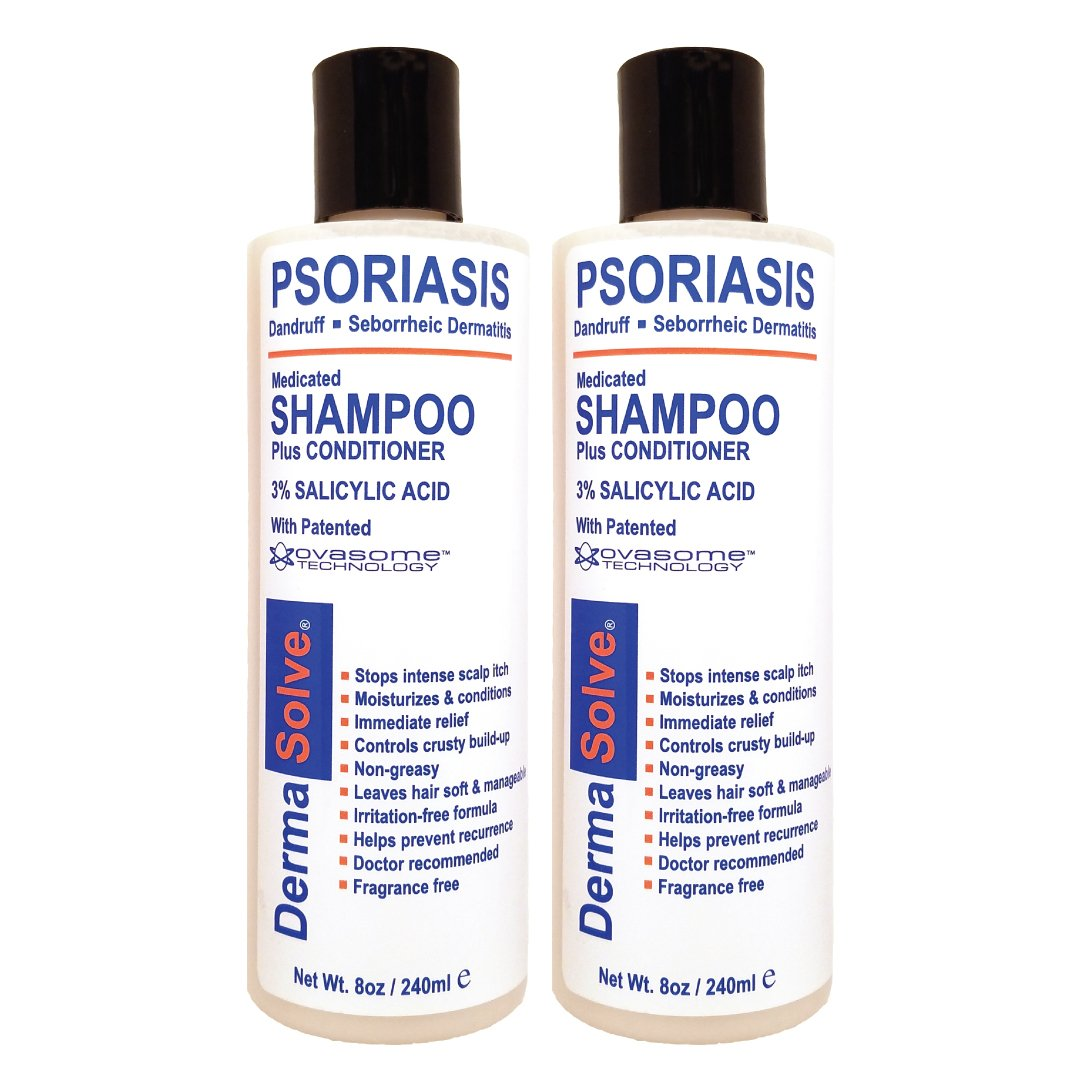 Scalp Psoriasis, Seborrheic Dermatitis & Dandruff Shampoo plus Conditioner by DermaSolve (2-pack) | Naturally Heals Itchy Flakey Inflamed Skin and Provides Soothing Moisturizing Relief by Dermasolve