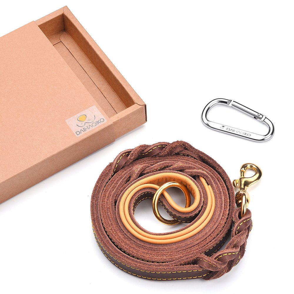 DAIHAQIKO Premium Traffic Handle Leather Dog Leash 6 Foot Military Grade Heavy Duty 2 Handles K-9 Dog Leashes for Large Medium Dogs by DAIHAQIKO (Image #2)