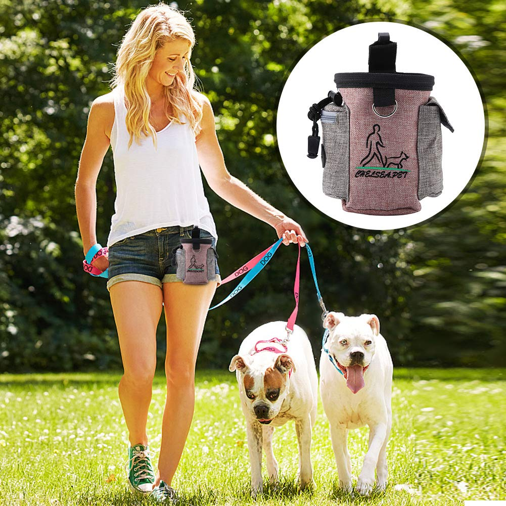 Portable Pet Feed Pocket Detachable Dog Training Treat Pouch Puppy Feed Reward Waist Bag Pets Outdoor Snack Storage Pocket with Adjustable Waistband Purple Red