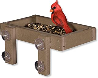 product image for DutchCrafters Eco-Friendly Poly Window Mount Tray Bird Feeder (Weathered Wood)
