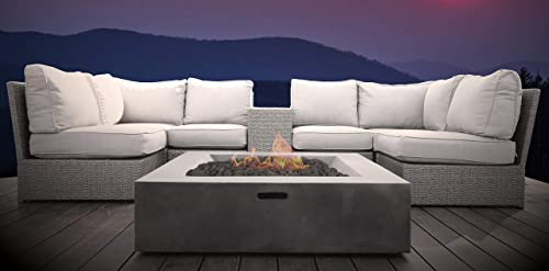 Living Source International Lucca Wicker 8-Piece Fire Pit Lounge Set Grey