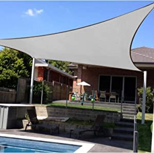 Artpuch Sun Shade Sail 12'x12' Square Canopy Grey Cover for Patio Outdoor Backyard Shade Sail for Garden Playground