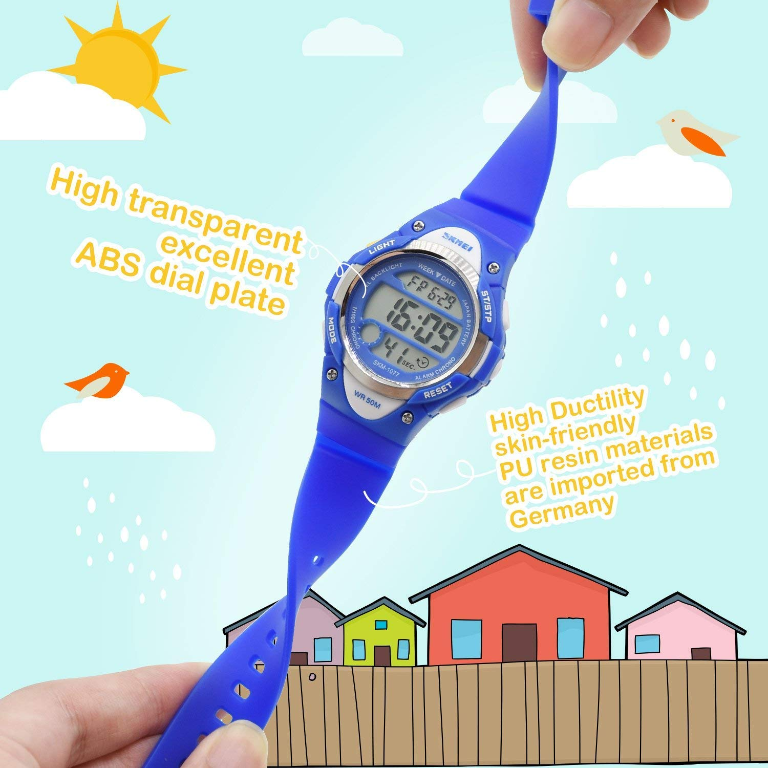 Boys Sport Digital Watch, Kids Outdoor Waterproof Electronic Watches with LED Alarm Stopwatch - Blue by cofuo (Image #2)