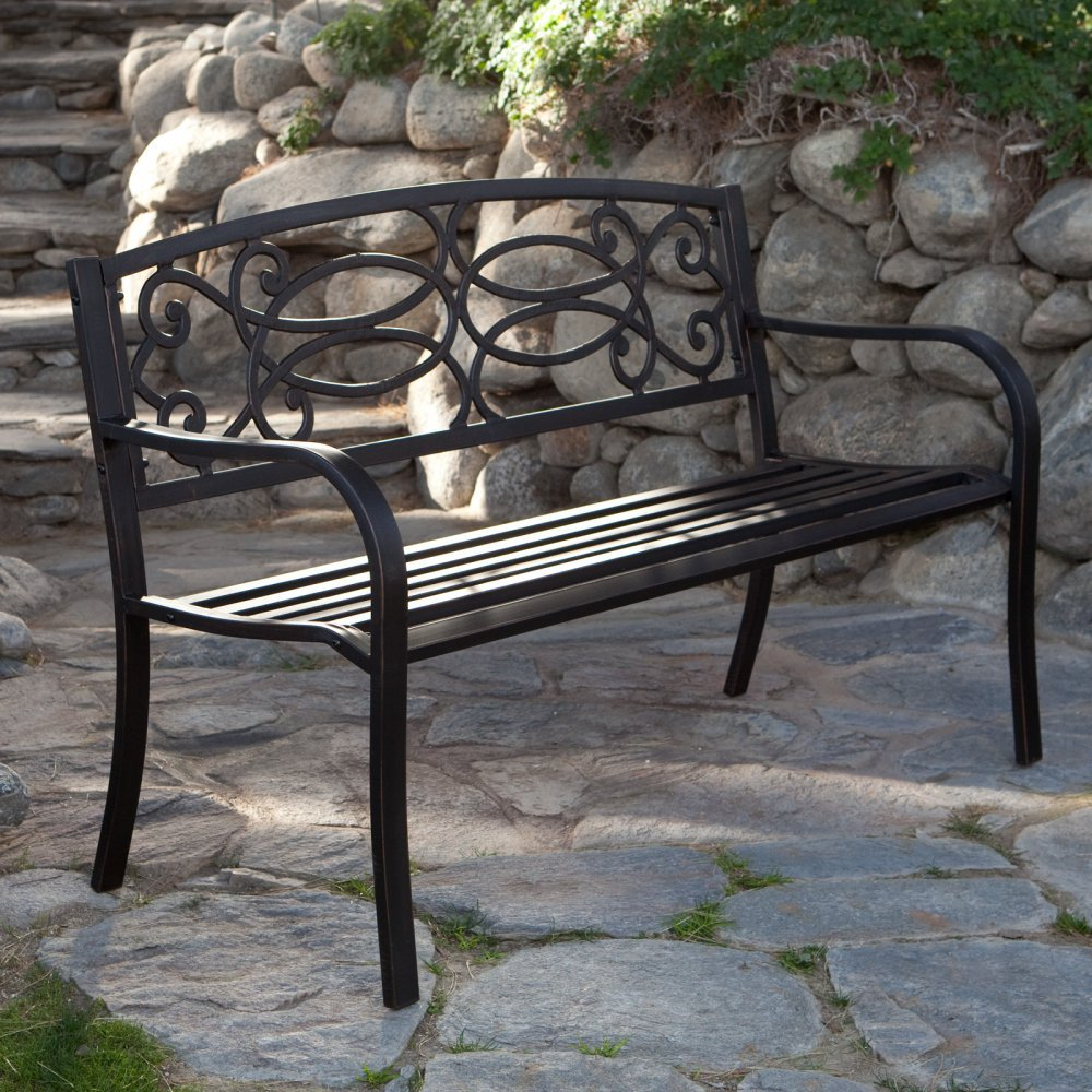 Amazon.com : Coral Coast Scroll Curved Back 4 Ft. Garden Bench : Outdoor  Benches : Garden U0026 Outdoor