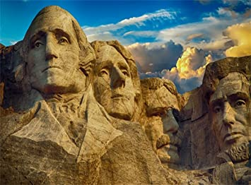9X6FT Mount Rushmore Backdrop American President Carving Human Elegant Blue Sky White Cloud Culture Historic Abstract Wallpaper Vinyl Photography Background Kids Adults Photo Studio Props