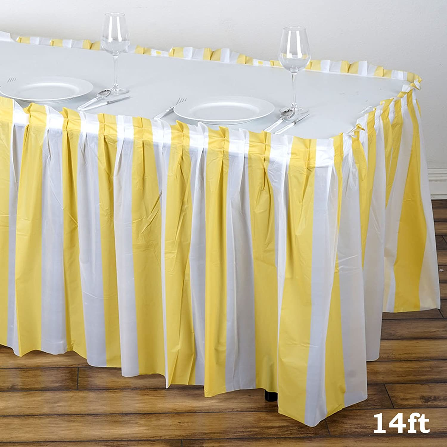 14/' BLACK POLYESTER PLEATED TABLE SKIRT skirting  Wedding Catering booths