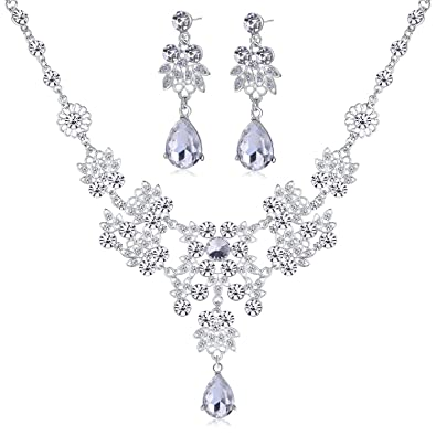 Women s Wedding Jewellery Sets Fashion Bride Earrings   Pendant Necklace   Amazon.co.uk  Jewellery f12579c22f7e
