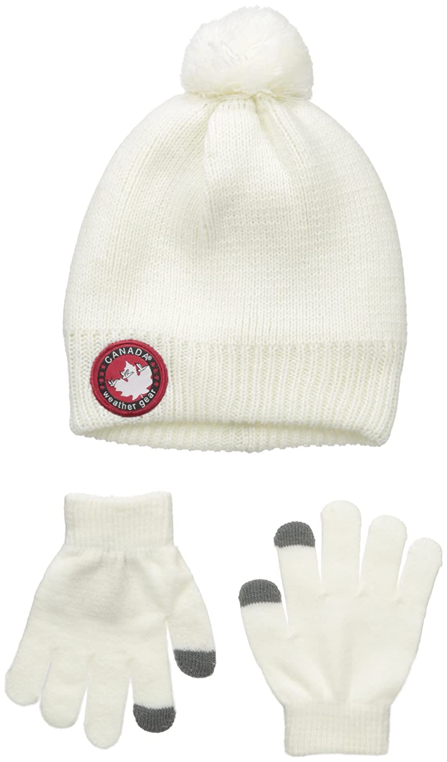 Canada Weather Gear Girls Big Slouchy Beanie with Tech Touch Gloves