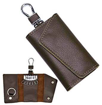 Leather Wallet Car Key Chain Holder Key Case Accessory 6 Ring Pouch Purse