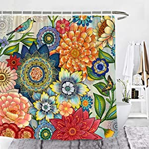Wencal Floral Boho Shower Curtain Bohemian Blossom Flower Bathroom Decoration with Hooks - 72 x 72 Inches