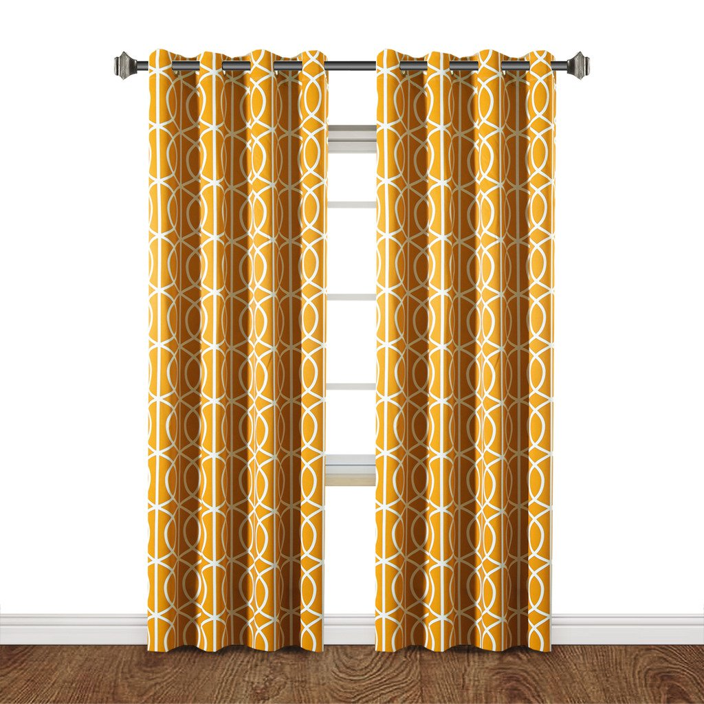 Mustard Yellow H.Versailtex Printed Blackout Room Darkening Printed Curtains Window Panel Drapes