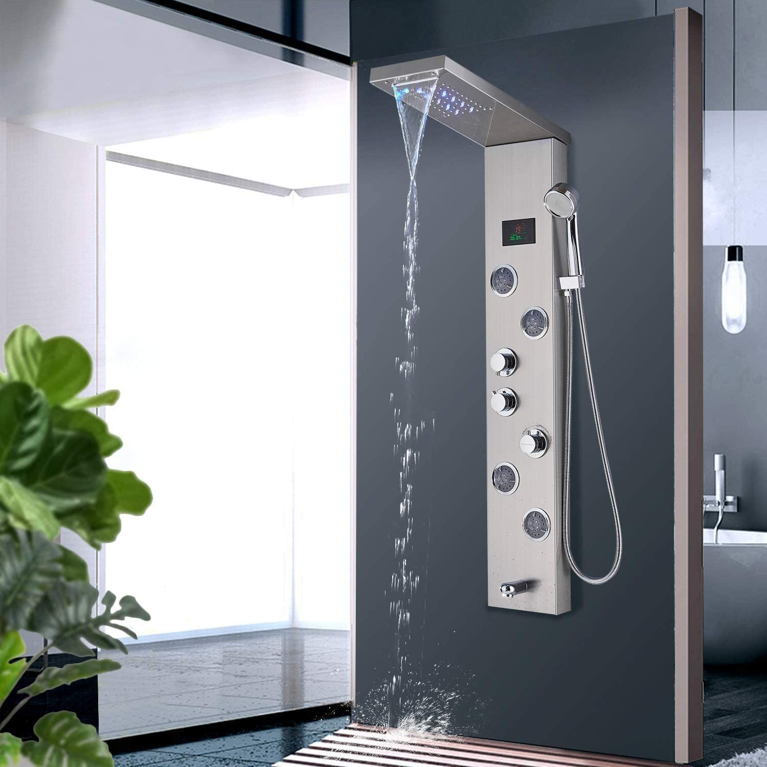 Zovajonia Led Shower Panel Tower System Bathroom Rainfall Waterfall Shower Head Rain Massage System With Body Jets Hand Shower Stainless Steel Shower System