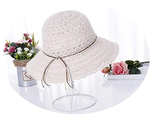 6c8317e50 Foldable Cotton Beach Bow Sunhats for Women Fashion Design Elegant ...