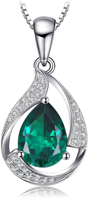 JewelryPalace Colgante elegante adornado Nano rusa imitado esmeralda Collar Plata de ley 925 cadena de caja 45cm