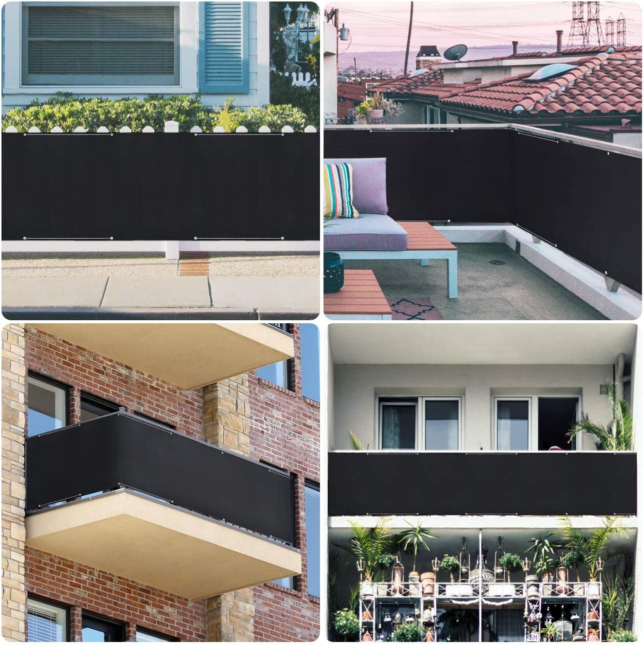 Sekey Balcony Privacy Screen Balcony Cover Opaque Wind and UV Protection Black 100/% Privacy 75 x 500 cm Nylon Cable Ties and Cord with Eyelets