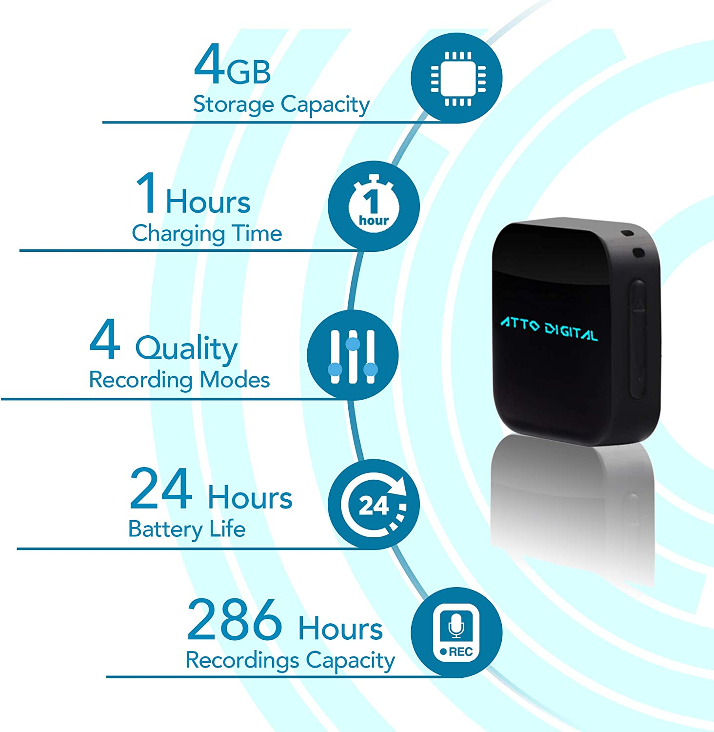 MiniAtto Password Protection 20 Hours Battery life 286 Hours