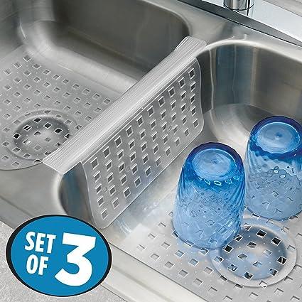 mDesign Set da 3 Tappetini per lavello cucina – Perfetti accessori cucina  anti-graffio per il vostro lavandino – Tappetini lavandino in PVC - ...
