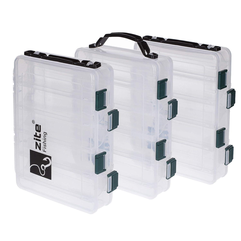 Zite Fishing K/öderbox Angeln Doppelseitig mit Tragegriff 20x15,5x4,5cm Kunstk/öder-Box Hardbaits Wobbler Blinker
